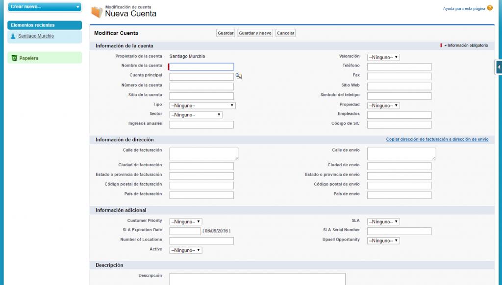 Formulario para la creación de una Cuenta